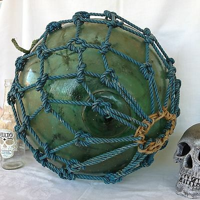 """Antique Nautical Hand Blown Glass Japanese Fishing Float Buoy Ball Net LARGE 48"""""""