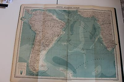 Large 1920's Map of The South Atlantic Times Atlas Bartholomew Folded Original