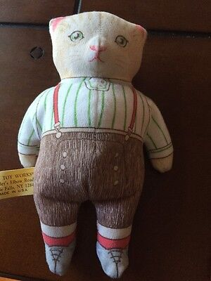 Vintage Kitty Cucumber Beanbag The Toy Works 1985 Cat Stuffed Doll