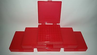BERRY'S PLASTIC AMMO BOXES (6) RED 100 Round 40 S&W / 45 ACP - FREE SHIPPING
