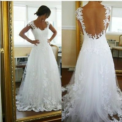 New lace Ivory/White wedding bridal gown dress custom size 4-6-8-10-12-14-16-18+