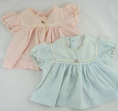Vintage Baby Dresses Lot of 2 Light Blue & Pink w/ Crocheted Trim 0-6 Months