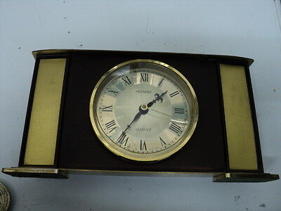 Vintage wood & Metal Retro METAMEC Clock Battery Operated Made in England