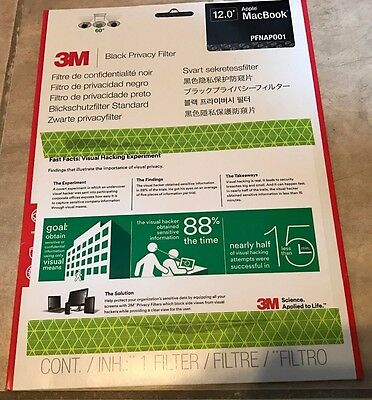3M Privacy Filter for Apple Macbook 12-inch Black NEW PFNAP001