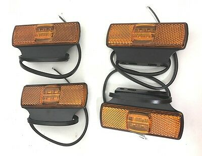 4 X Amber Led Side Marker Tail Lights Truck Trailer Recovery 12V/24V