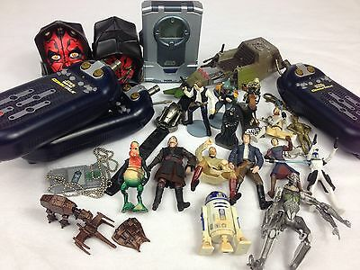 STAR WARS Episode 1 Lot of Figures, Vehicle, Rubix Cubes, Keychains & Console!