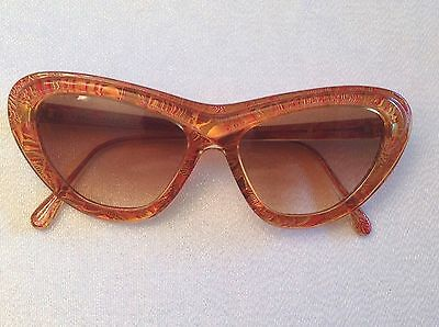 RARE CHRISTIAN LACROIX VINTAGE 7367 11 54mm GOLD/AMBER RED CATEYE SUNGLAS GERMAN