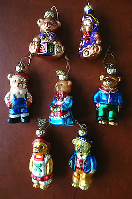 Set 7 Differednt Bear Christmas Tree Glass Ornaments