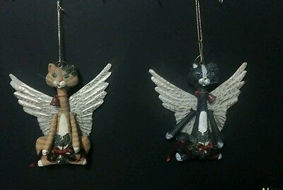 Cat Christmas Ornament WITH Metal Angel Wings, callico & black cat