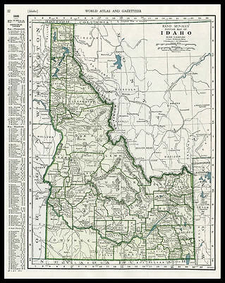 IDAHO U.S. State Boise 1946 antique color lithograph Map