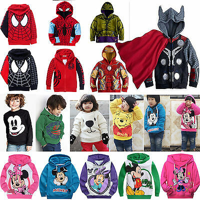 1-9Y Kids Girls Boys Mickey Superhero Hoodie Coat Jacket Sweatshirt Top Outwear