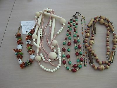 Estate Costume Ethnic Wood Beaded Lot 5 Pieces