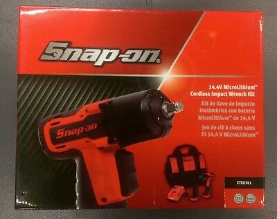 "Snap On 14.4v 3/8"" Impact Gun. NEW. Red Impact Wrench with Charger & 2 Batteries"
