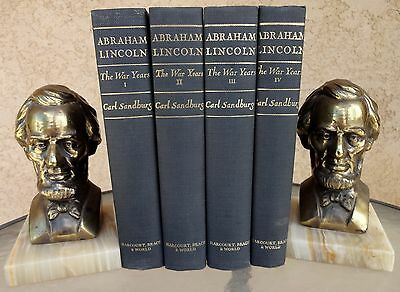 """Abraham Lincoln Vintage Bookends 7"""" Brass Bust on a Marble Base"""