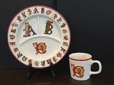 Tiffany & Co. Alphabet Bears Children's Divided Plate & Cup, China, 1994, EUC