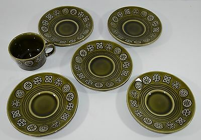 Vintage Lord Nelson Pottery Green Celtic Runes Saucers/Cup Retro 60s England