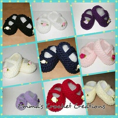Hand Knitted / Crochet Gorgeous Baby Girls Mary Jane Booties / Shoes 4 Sizes