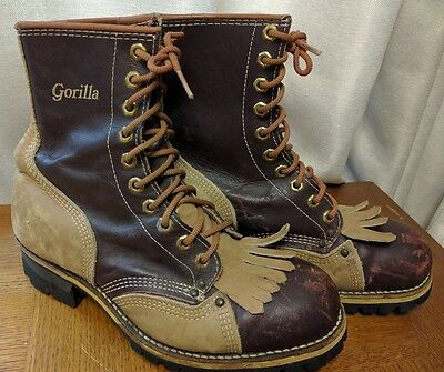 "Vtg GORILLA Leather 8"" Hard Toe Forestry Boots Rugged Vibram Sole Men's US8"