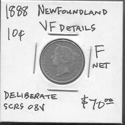 Newfoundland - Historical Rare Qv Silver 10 Cents, 1888