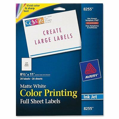 Avery Color Printing Labels for Inkjet Printers, Matte White, 8.5 x 11 Inch, of