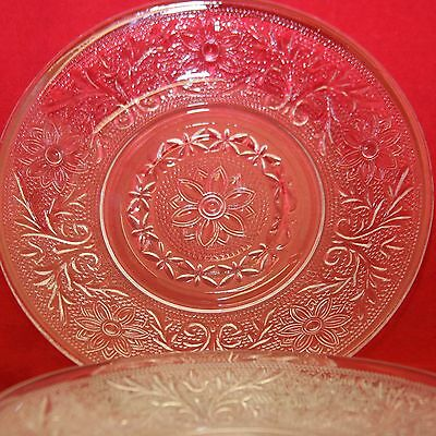 6 Indiana Glass Co. Elegant Etched Cut Glass Bread & Butter Dessert Plates