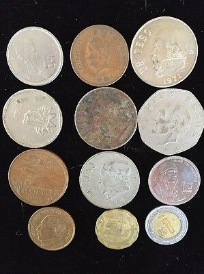 Twelve Assorted Mexico Mexican Coins Lot 3092