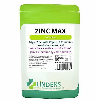 Zinc Max Triple Strength With Copper & Vitamin C - 90 Tablets (Lindens)