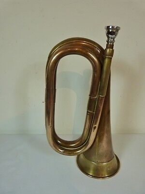 VINTAGE BRASS & COPPER ARMY BUGLE  with mouth piece