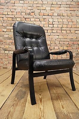 60s Retro EASY CHAIR DANISH LEATHER ARMCHAIR DENMARK LOUNGE FAUTEUIL Vintage