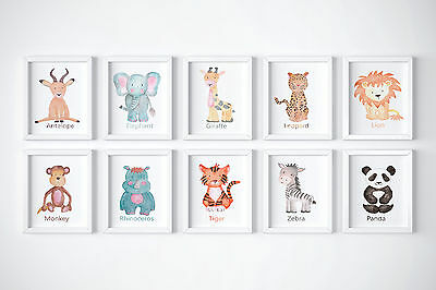 Cute Watercolour animals Wall Prints- Nursery Various Sizes & Styles10x8, A4, A3