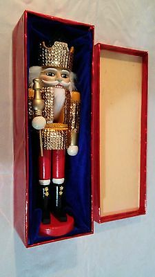 Wooden Gold Sequins Nutcracker 15'' Soldier with Spear Christmas Decor. In Box