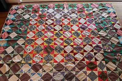 """VINTAGE ESTATE HAND SEWN EARLY 1900's PATCHWORK QUILT - 77"""" X 63"""" - NICE!!"""