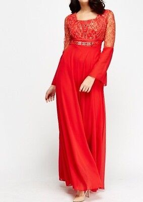 Red Embroidered Lace Wedding Evening Maxi Party Prom Dress Kaftan Abaya 8-10