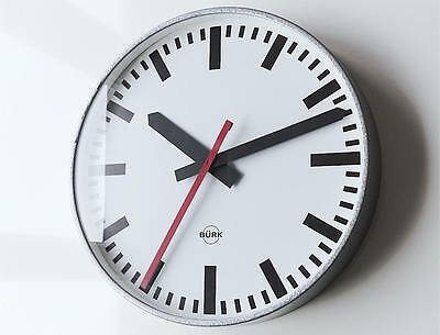 Beautiful German BÜRK Industrial Clock modernist Bauhaus apple style smooth