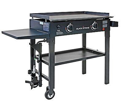 Gas Griddle Cooktop Stove Pancake Flat Top Two Burner Cast Iron Cooking Grill