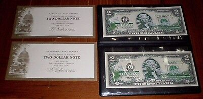 2003 ~ $2 Dollar Bill Uncirculated Authentic Legal Tender w/ Case~2 ALASKA Notes