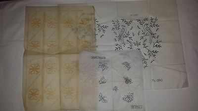 3 Embroidery Transfer Patterns with Butterflies, birds and flowers
