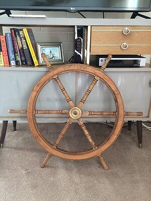 "Vintage Ships Captains Steering Wheel Wood Brass 20"" Nautical"