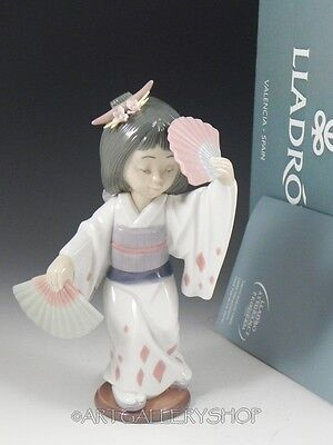 Lladro Figurine ORIENTAL DANCE JAPANESE GIRL WITH FANS #6230 Retired Mint BOX