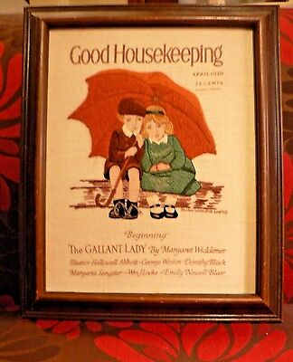 Vintage Crewel Embroidery Framed Art Good Housekeeping April 1926 Magazine Cover