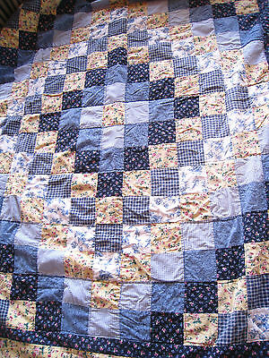 "Vintage Hand Sewn All Cotton QUILT 64""x 80"" Gingham and Calico's Blue's/Yellow's"