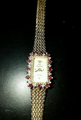 VINTAGE 1960'S JULES JURGENSEN LADIES WATCH with DIAMONDS and RUBIES with Box!