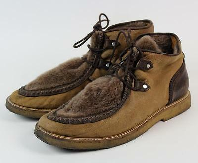 Men's OPENING CEREMONY Breannan2 Shearling Lace-Up Leather Ankle Boots 45 11.5