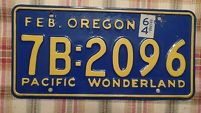 "1964 Oregon ""Pacific Wonderland"" license plate(Rare 2-dot)"