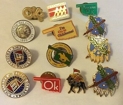 Lot of 13 Vintage Oklahoma Pins State Horse Native Agriculture Land Run