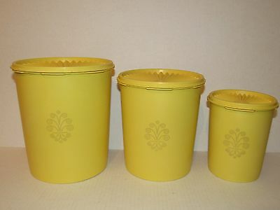 Vintage Tupperware Yellow 8 pc Canister Set W/ Servalier Lids