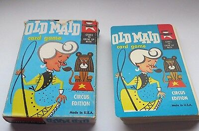 Vintage 1959 OLD MAID Circus  EDITION w/ FLIP MOVIE BACKS CARD GAME