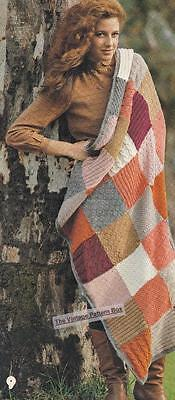PATCHWORK RUG - 8ply or D.K. - COPY  Afghan knitting pattern