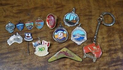 Lot x13 Vintage / Antique Australiana Tourist Badges & Fobs Lot Mining Fishing