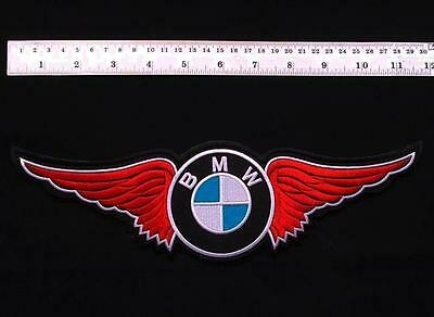 """Large 11.5"""" Red Bmw Motorcycle Car Racing Wing Biker Vest Jacket Shirt Patch"""